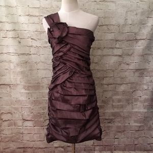 City Triangles Brown Shimmer Ruched Prom Dress